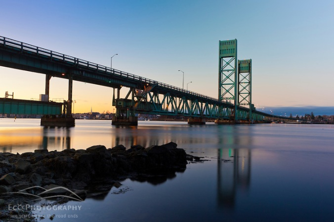 The Sarah Mildred Long Bridge over the Pisctaqua River in Portsmouth, new Hampshire.