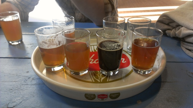 Four-beer flight at Tributary Brewing